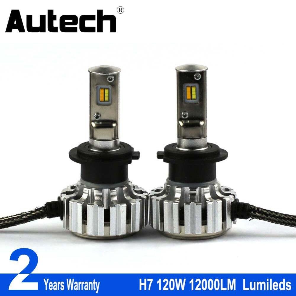 Autech 2 Pieces Super Bright H7 LED Car Headlight H7 Universal Fit Automobile Headlamp 6000K Car LED light 12V Super power