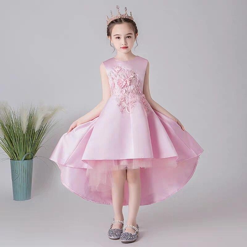 Новинка 2019, роскошное розовое вечернее платье с вышитыми цветами для малышей на день рождения, детское торжественное платье для свадебной в