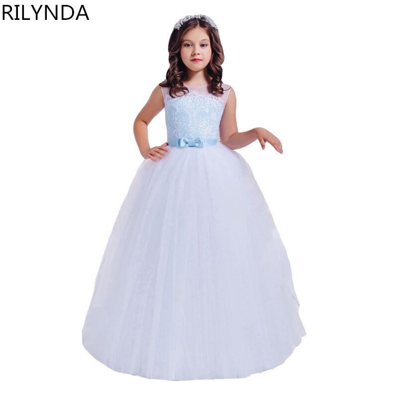 ФОТО Flower Girl Dresses Appliques Lace Up Patchwork Ball Gown O-Neck Sleeveless Formal First Communion Dresses for Girls Hot Sale