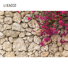 купить Laeacco Beautiful Flowers Stone Wall Portrait Grunge Photography Backgrounds Customized Photographic Backdrops For Photo Studio дешево