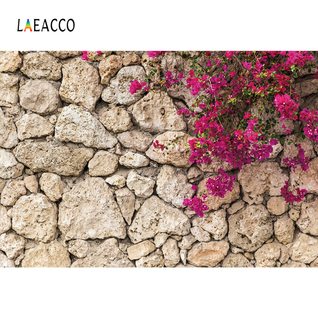 Laeacco Beautiful Flowers Stone Wall Portrait Grunge Photography Backgrounds Customized Photographic Backdrops For Photo Studio
