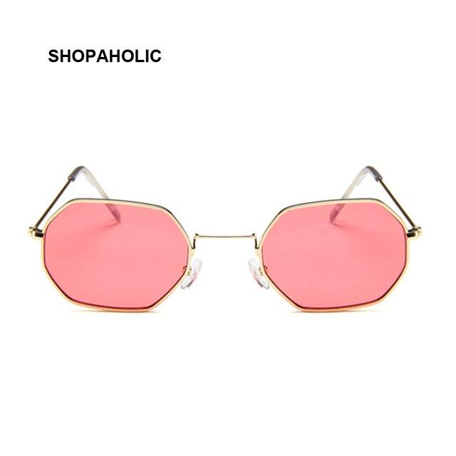 Fashion Sunglasses Women Brand Designer Small Frame Polygon Clear Lens Sunglasses Men Vintage Sun Glasses Hexagon Metal Frame 2