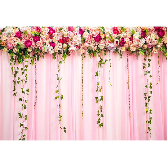 Digital Printed Roses Pink Curtain Photo Backdrop For Wedding Green Vines Princess Girl Birthday Party Booth Background