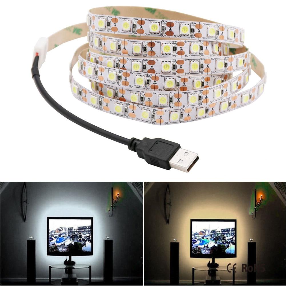 USB LED Strip Lamp 5050 DC5V Flexible LED Light Tape Ribbon 50cm / 1m / 2m / 3m / 5m HDTV TV Desktop Screen Backlight Warm White