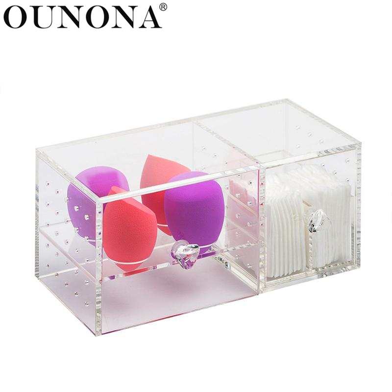 OUNONA Cosmetics Organizer Acrylic Makeup Storage Case Dustproof Table Cosmetic Container