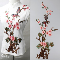 Plum Blossom Flower Applique with birds Clothing Embroidery Patch Fabric Sticker Iron On Patch Craft Sewing Repair Embroidered