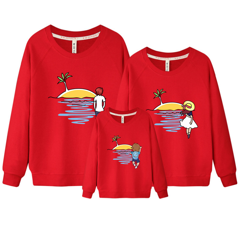 3 pcs/set fleece lining Sweatshirt for Whole Family Spring Shirt Father Mother Son Daughter Matching Family Clothing Big Size XL