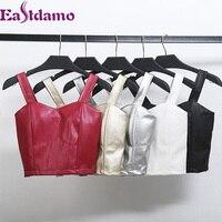 Eastdamo Sexy Women S Crop Top PU Leather Bustier Tank Top Autumn Winter Slim Bodycon Short