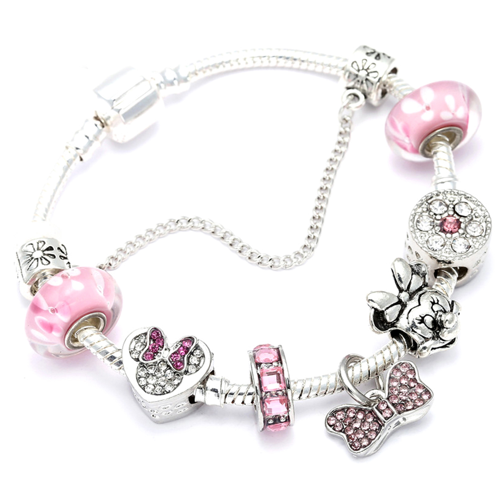 Animal Mickey Charm Bracelets & Bangles Women Jewelry Minnie Pink Bow-Knot Pendant Brand Bracelet DIY Handmade for Girl Gift(China)