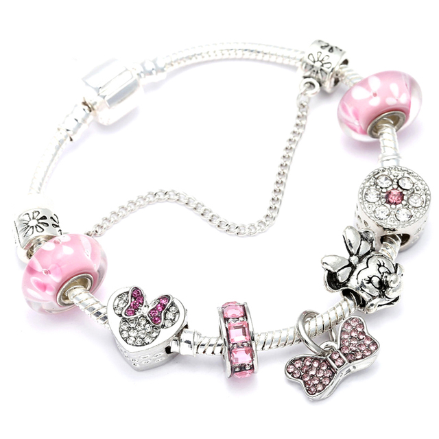 Animal Mickey Charm Bracelets & Bangles Women Jewelry Minnie Pink Bow-Knot Pendant Pandora Bracelet DIY Handmade for Girl Gift