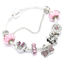 Animal Mickey Charm Bracelets amp Bangles Women Jewelry Minnie Pink Bow-Knot Pendant Pandora Bracelet DIY Handmade for Girl Gift cheap Fashion Trendy homod Mood Tracker Fitness Tracker None AD0358 Hidden-safety-clasp Copper Zinc Alloy Metal Snake Chain All Compatible