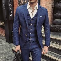 Wedding Formal Wear Suits Blazer Men Good Quality Blue Plaid Suits Fashion Male Formal Dress Suits