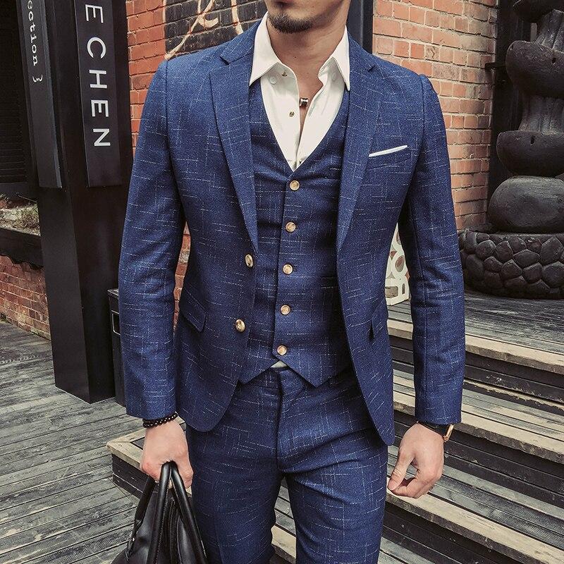 Desgaste Formal de la boda trajes y Blazer hombres buena calidad azul trajes a cuadros moda masculina trajes del vestido Formal Blazer chaquetas + pantalones + chaleco