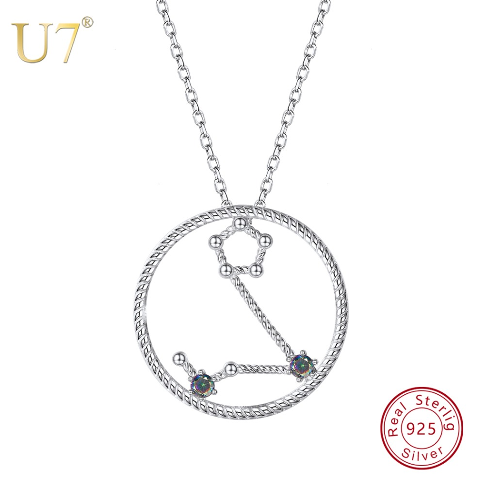 U7 925 Sterling Silver Pisces Zodiac Necklaces & Pendants Constellation Jewelry Accessories For Men/Women Birthday Gift SC70