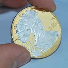 Sample! 2014 America Gold coin/ Silver coin Round coin+American gold/silver eagle Copy Coin 10pcs/lot