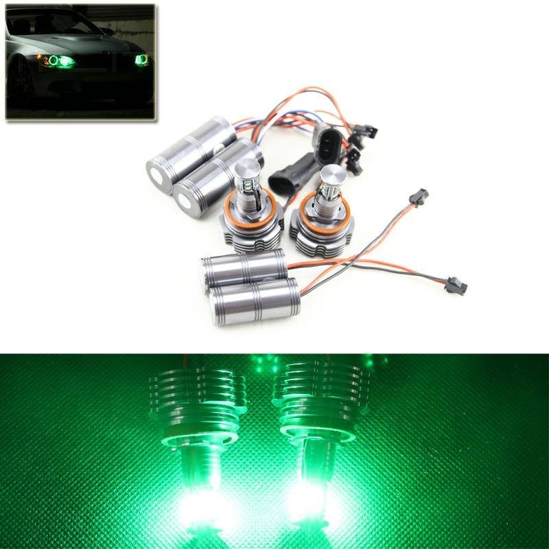 Set 2*40W H8 Led Marker Angel Eyes Halo Ring Kit Green Color For Bmw E90 E92 X5 E71 X6 E72 E92 M3 E60 E70 Canbus Error Free 2pcs set canbus no error free led marker angel eyes front driving fog lights for bmw h8 1 3 5 x series halo ring kits