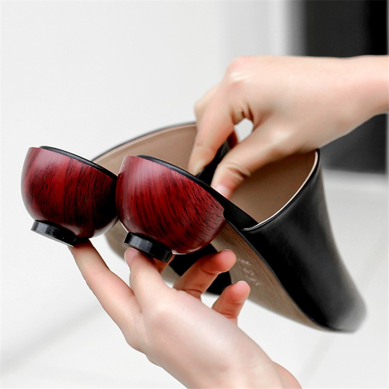 Pointu Style D'été Mules Beige Plein De Mode En Cuir Air Pour Xinbest gris Vache Bout 2019 Sexy Solide 4 Chaussures Cm Chaussons Étrange Femmes noir qpH8fWBTw