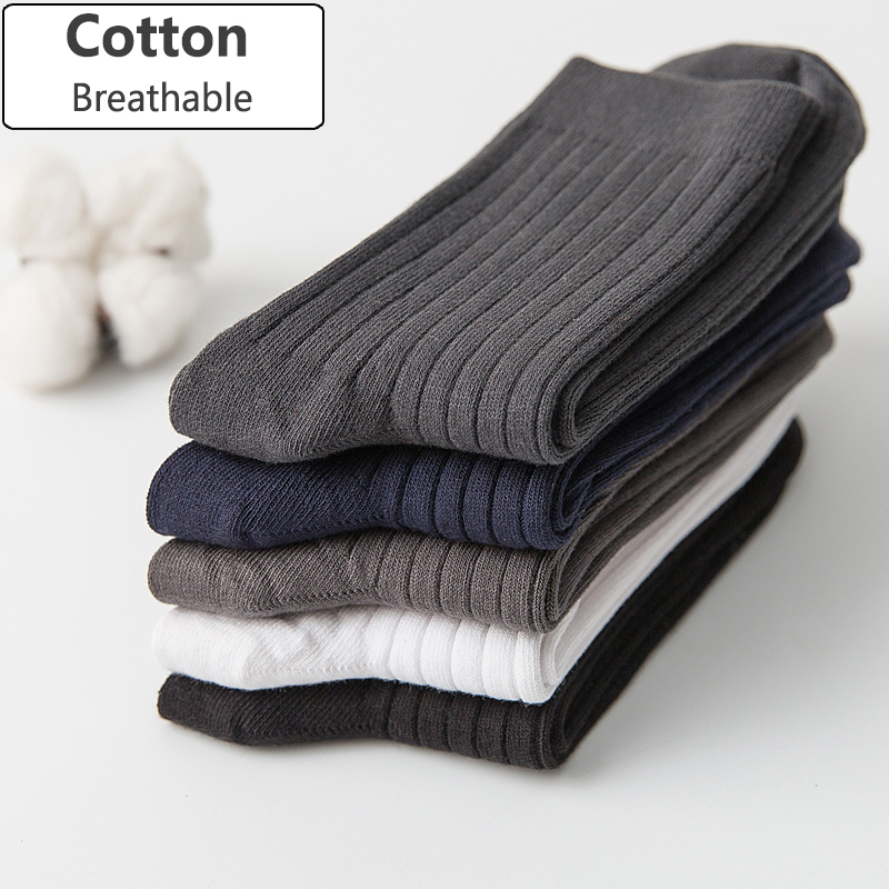 Men Cotton   Socks   Brand New Casual Business Anti-Bacterial Deodorant Breatheable Man Crew   Sock   5pairs / lot