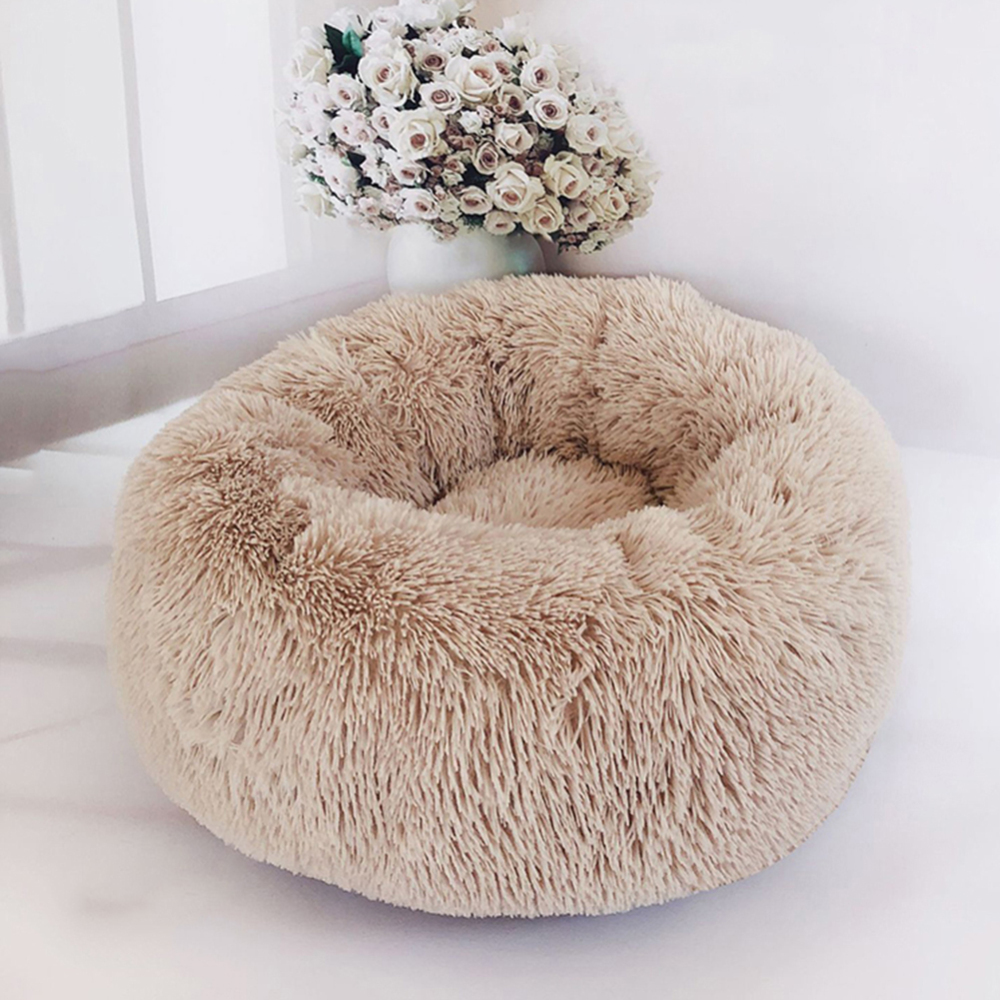 Plush Cat Dog Bed Round Pet Lounger Cushion for Small Medium Large Dogs Cat Winter Dog Kennel Puppy Mat Pet Bed Cushion in Houses Kennels Pens from Home Garden