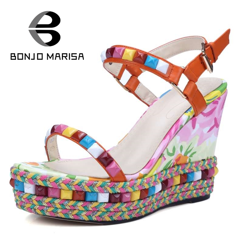 BONJOMARISA Bohemia Flower Print Women High Heel Wedge Summer Shoes Woman Colorful  Ankle Strap Open Toe Platform Sandals ankle strap wedge heel shoes for women comfort open toe shoes girls sandals 2016 new summer