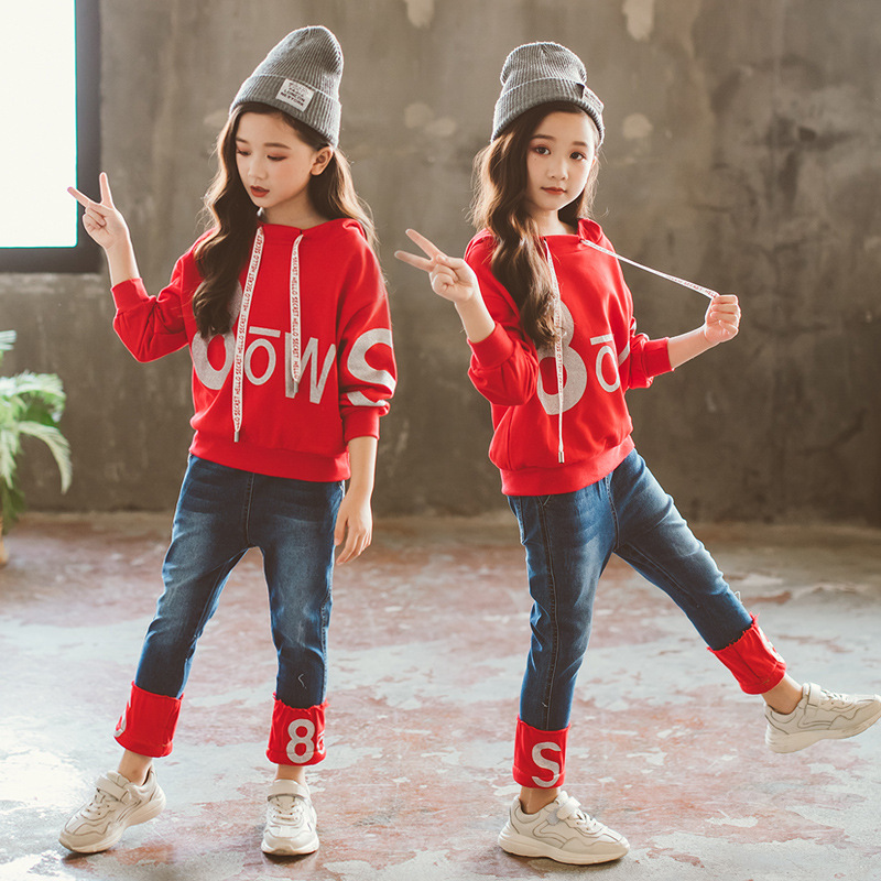 Denim 2Pcs Baby Girl Letter Print T-Shirt+Jeans Girls Clothing Sets for Teens Girl Sport Spring Autumn Winter Clothes Suit CA217 letter print raglan hoodie