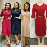 south africa women summer casual Dress 2018 fashion belt pleated vintage dresses femme plus size midi Dresses Africaine vetsido