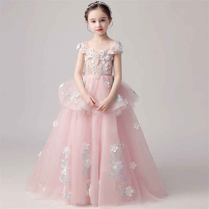 3~15Years Children Girls Noble Elegant Appliques Flowers Shoulderless Birthday Wedding Party Tail Dress Kids Model Costume Dress3~15Years Children Girls Noble Elegant Appliques Flowers Shoulderless Birthday Wedding Party Tail Dress Kids Model Costume Dress