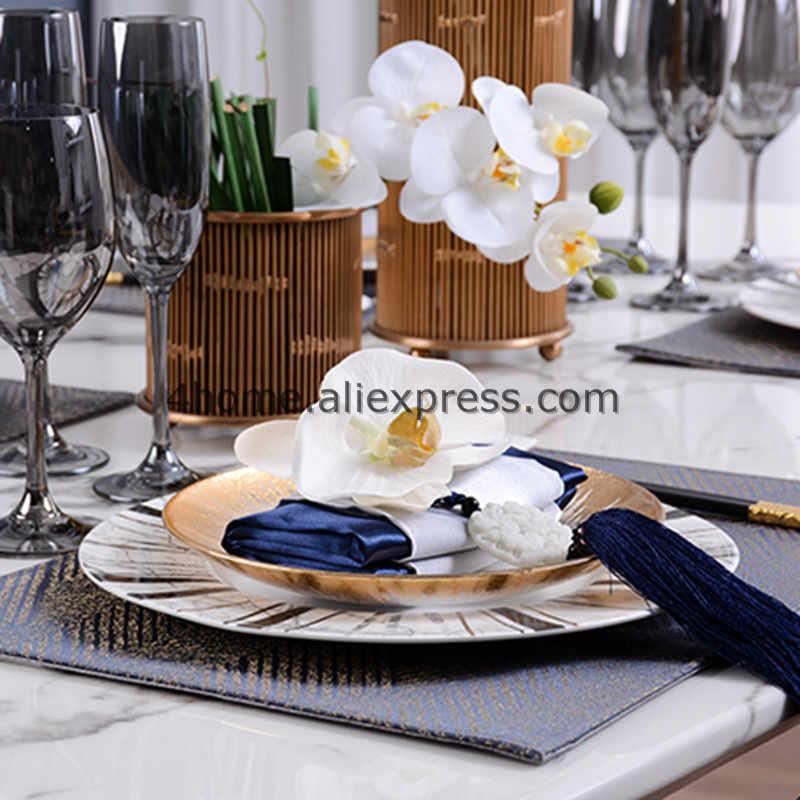 24 K Emas Hidangan Piring Sampel Dekorasi Kamar Mewah Nampan Makanan Hidangan Hadiah