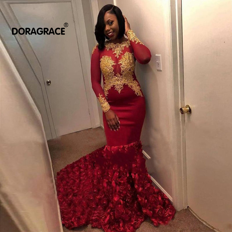 Gorgeous Mermaid Prom Dresses Gold Lace Appliques Long Sleeves Dubai Burgundy Evening Gowns 3D Floral Formal Party Dress in Evening Dresses from Weddings Events