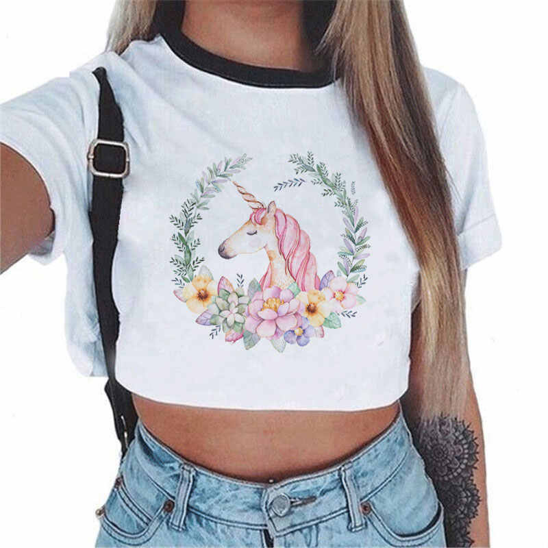 Hot Selling Summer Kawaii Crop Top Cartoon Horse Wreath Unicorn Sexy Women T Shirt Casual Fashion Harajuku Tops Camiseta Mujer