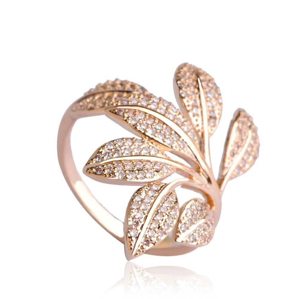 Dazz Micro Pave Cubic Zircon Rings Gold Color Soft Copper