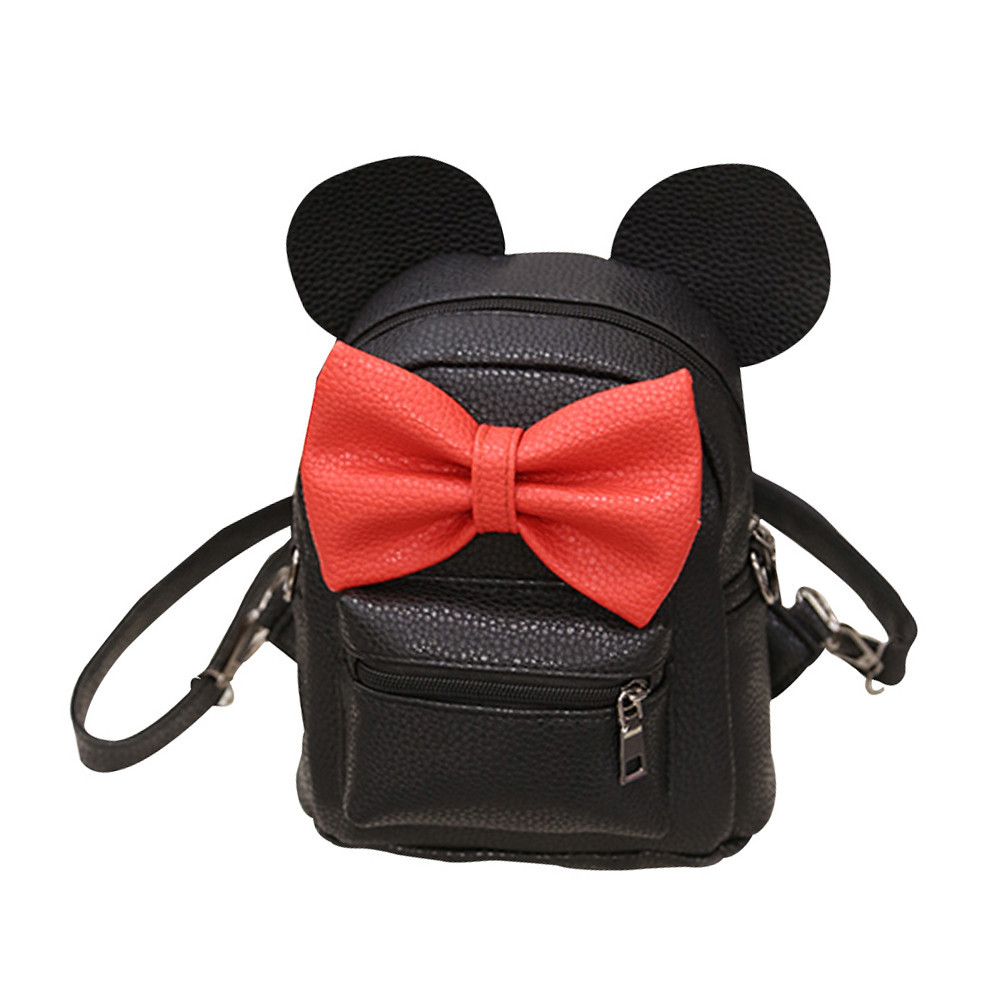 Girls Mickey Backpack Bow Female Bag Korean Women's Backpack Mouse Ear Cartoon Pu Leather Backpack Girl Lady Shoulder Bags
