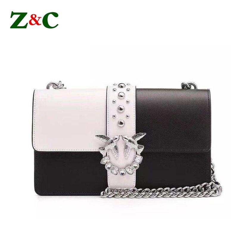 7474cfda488c 2018 Fashion Swallow Rivet Chain Crossbody Bag Luxury Leather Handbags  Women Messenger Bags Designer Flap Girls Shoulder Bag Sac-in Shoulder Bags  from ...