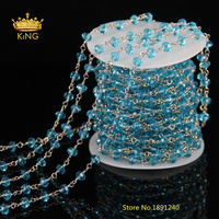 NEW Silver Plated Chain Aquamarine Blue Glass Rondelle Trendy Long Rosary Necklace For Mens Women 6mm