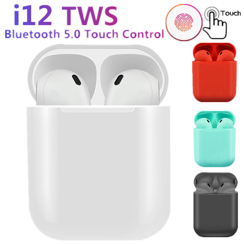 New <font><b>i12</b></font> <font><b>TWS</b></font> wireless headphones <font><b>bluetooth</b></font> <font><b>5.0</b></font> earphone Mini Earbuds earphones Music Headset pk i10 i20 i30 <font><b>TWS</b></font> for iPhone xiaomi image
