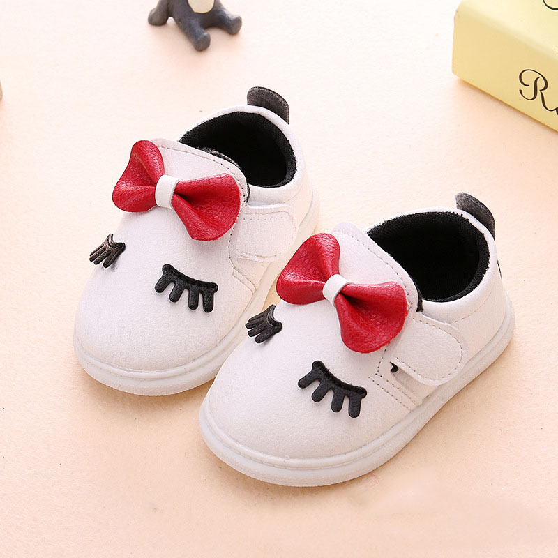 Baby Shoes Girls 2 Years Sports Baby 1 Year Shoes Newborn Fashion Solid Butterfly-Knot Toddler Infant Cork Shoe Pink White 1 2 3