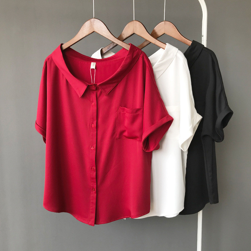 High quality Red Chiffon Wide neck Loose   Shirt   Office Top 2018 Working Women   Blouse     Shirt   Half Loose Sleeve Summer Elegant top
