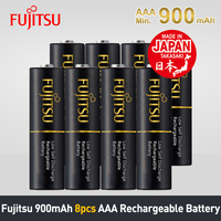 Fujitsu AAA Rechargeable Battery 1.2V 900mAh NiMH Batteries Made in Japan 8Pcs/2Packs Low Self Discharge Reuse up to 500 times