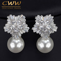 2017 New Arrival Snow Flower Design Women Big Drop White Pearl Earrings With Cubic Zirconia Christmas Gift  CZ069