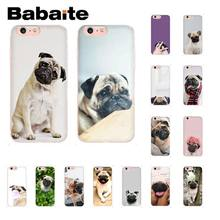 Babaite Pug Cão Macio Transparente Phone Case para iPhone 5 5Sx 6 7 7 plus 8 8 Plus X XS MAX XR 10 Caso Coque Shell Fundas Capa(China)