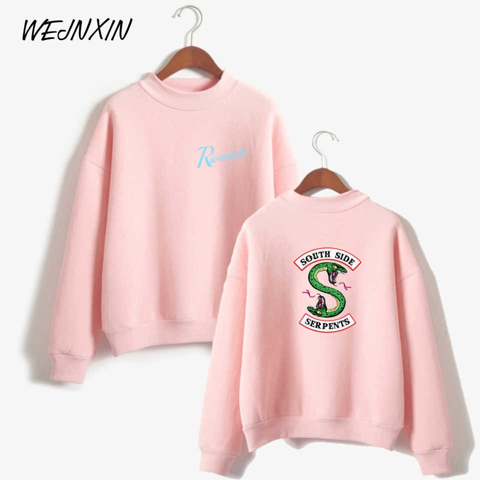 WEJNXIN American TV Riverdale Pullover Hoodies Women Fleece Sweatshirt Turtleneck South Side Long Sleeve Sudaderas Mujer