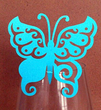 120pcs/lot Lovely Butterfly Design Paper Table Number Card Wine Glass Wedding Party Guest Name Holder Place wd167