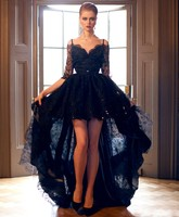 2016 New Short Front Long Back Gothic Black Lace Wedding Dresses With 3 4 Sleeves Off
