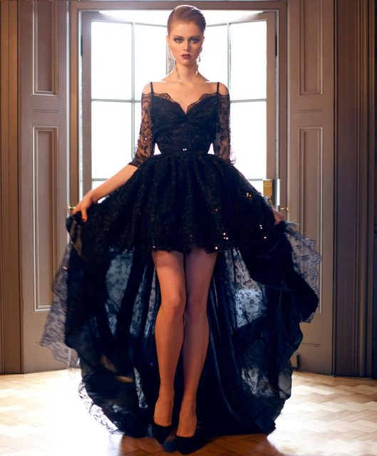 27559d6f17e8 2019 New Short Front Long Back Gothic Black Lace Wedding Dresses With 3 4  Sleeves Off the Shoulder Sexy Colorful Bridal Gowns