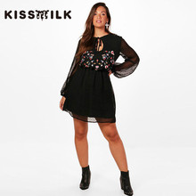 kiss milk plus size western style fashion embroidery long lantern sleeve  dress 106a7892df94