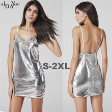Womens sexy Club dress A-line sequined Sleeveless back open above knee girls  party ouc684