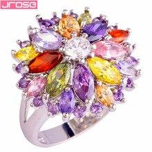 JROSE Engagement Flower Peridot Pink White Topaz Garnet Colorful Jewelry Silver Ring Size 6 7 8 9 10 11 12 14 Free Ship Women
