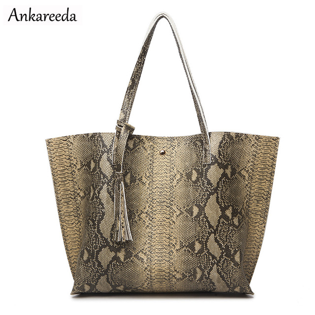 Ankareeda Luxury Brand Serpentine Women's Soft Leather Handbag High Quality Women Shoulder Bag Fashion Tassel Women's Handbags