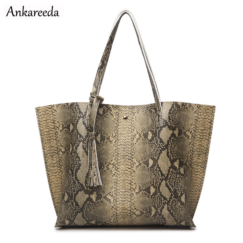 Ankareeda Luxury Brand Serpentine Women's Soft Leather Handbag High Quality Wome
