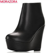 MORAZORA 2020 hot sale genuine leather boots round toe spring autumn ankle boots women platform fashion wedges high heels shoes